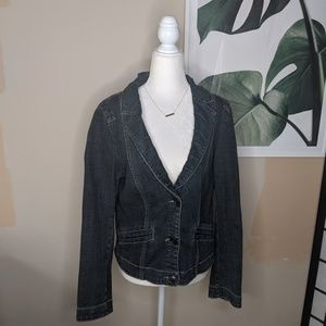 Cabi Denim Blazer 3 Buttons Dark Wash Jean Jacket